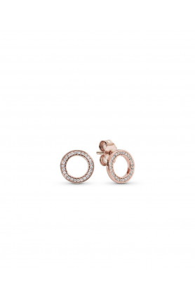 ROSE CIRCLE STUD EARRINGS WITH CLEAR CUBIC ZIRCONIA