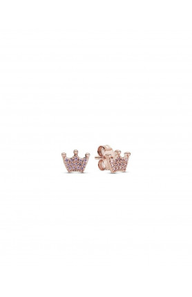 CROWN PANDORA ROSE STUD EARRINGS WITH ORCHID PINK CRYST..
