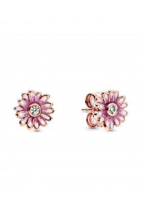 ROSE DAISY STUD EARRINGS WITH CLEAR CUBIC ZIRCONIA AND ..