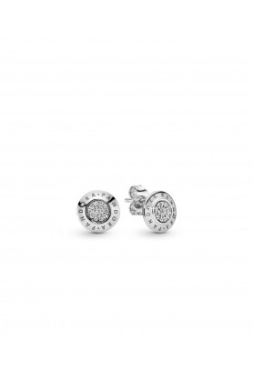 LOGO SILVER STUD EARRINGS WITH CUBIC ZIRCONIA