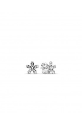 DAISY SILVER STUD EARRINGS WITH CUBIC ZIRCONIA