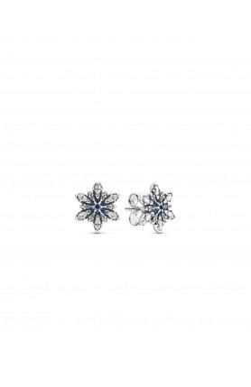 SNOWFLAKE SILVER STUD EARRINGS WITH MIXED BLUE SHADES O..