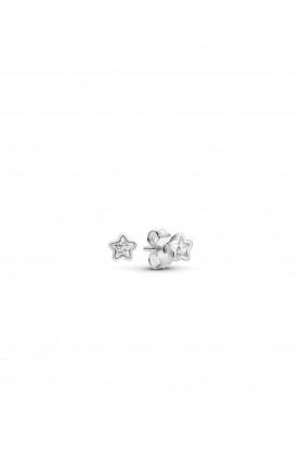 STAR SILVER STUD EARRINGS WITH CLEAR CUBIC ZIRCONIA