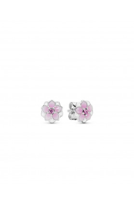 MAGNOLIA SILVER STUD EARRINGS WITH PINK CUBIC ZIRCONIA,..