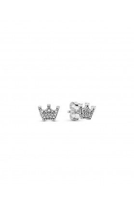 CROWN SILVER STUD EARRINGS WITH CLEAR CUBIC ZIRCONIA