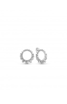 ICE CUBE SILVER EARRINGS WITH CLEAR CUBIC ZIRCONIA