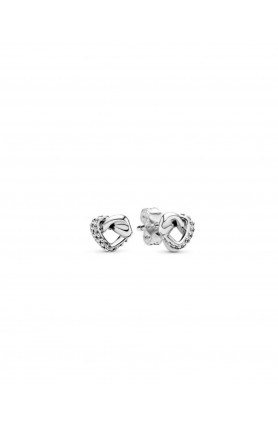 KNOTTED HEARTS SILVER STUD EARRINGS WITH CLEAR CUBIC ZI..
