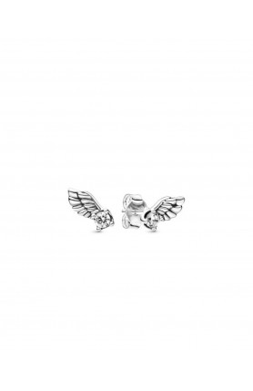 ANGEL WING STERLING SILVER STUD EARRINGS WITH CLEAR CUB..