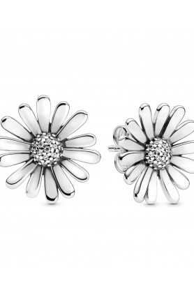 DAISY FLOWER STATEMENT STUD EARRINGS WITH CLEAR CUBIC Z..