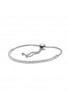 RHODIUM PLATED SILVER BRACELET WITH CLEAR CUBIC ZIRCONI..