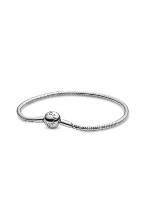 MOMENTS SNAKE CHAIN SILVER BRACELET WITH ROUND CLASP