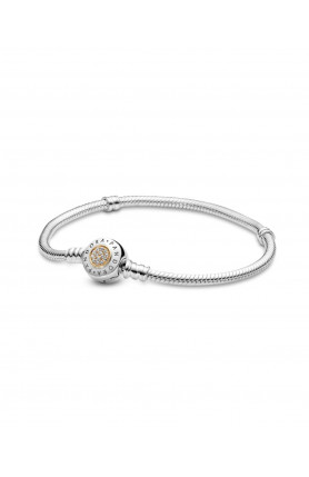 PANDORA LOGO SILVER BRACELET WITH 14K AND CLEAR CUBIC Z..