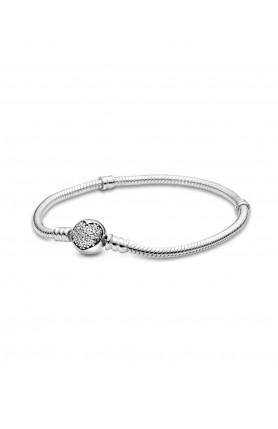 MOMENTS SPARKLING HEART CLASP SNAKE CHAIN BRACELET