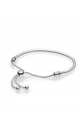 MOMENTS SNAKE CHAIN SLIDER BRACELET WITH CLEAR CUBIC ZI..