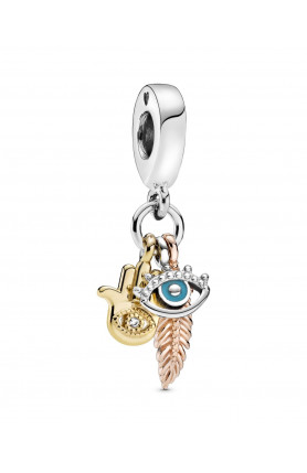 HAND, EYE AND FEATHER DANGLE CHARM WITH CUBIC ZIRCONIA ..
