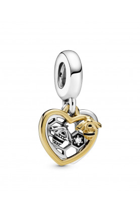 SHINE HEART AND BEE DANGLE CHARM WITH CUBIC ZIRCONIA AN..