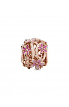 ROSE DAISY CHARM WITH SHADED PINK ENAMEL