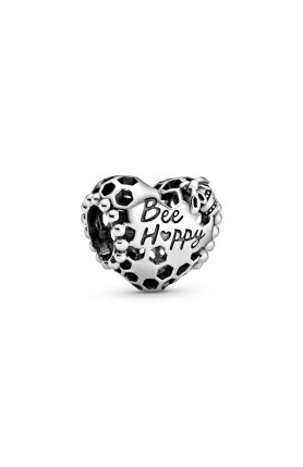 HONEYCOMB AND HEART STERLING SILVER CHARM