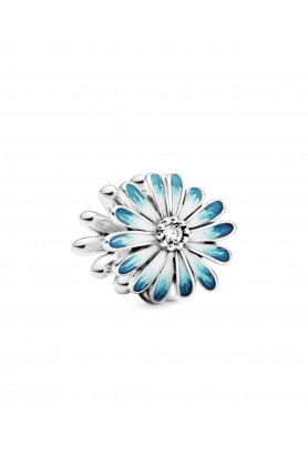 DAISY CHARM WITH CLEAR CUBIC ZIRCONIA AND SHADED BLUE E..