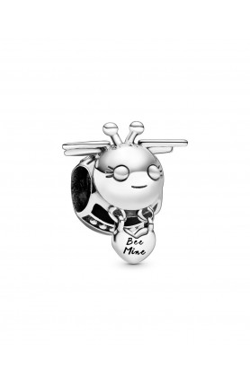 BEE STERLING SILVER CHARM WITH BLACK ENAMEL