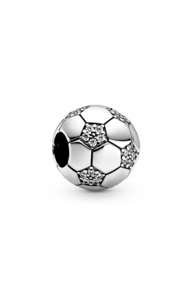 FOOTBALL STERLING SILVER CHARM WITH CLEAR CUBIC ZIRCONI..