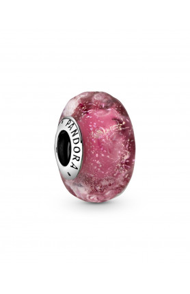 WAVY CHARM WITH IRIDESCENT AND PINK MURANO GLASS