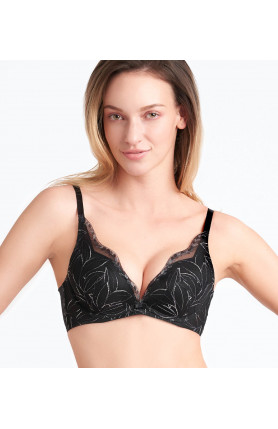 AQUA LEAF DEEP V WIRED PUSH UP BRA
