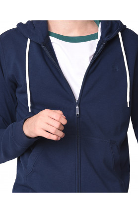 HEATHER NAVY LOGO HOODED ZIPPED SWEATER