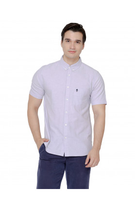 PURPLE SHORT SLEEVE GUARDIAN HIRO OXFORD SHIRT