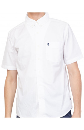 WHITE SHORT SLEEVE GUARDIAN HIRO OXFORD SHIRT