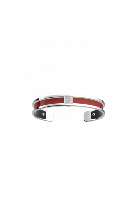 BARETTE SILVER 8MM BRACELET WITH PATENT RED & BLACK LEA..