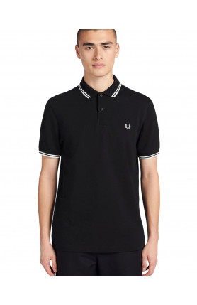 BLACK TWIN TIPPED FRED PERRY SHIRT