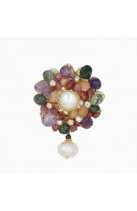 COLOURFUL PEARL BROOCH WITH SEMI-PRECIOUS STONES