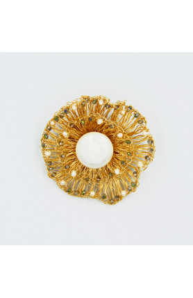 PEARL NEST BROOCH WITH CRYSTALS