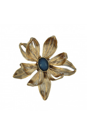 TWO TONE BROOCH WITH SEMI-PRECIOUS STONES