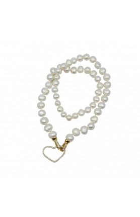 18K GOLD PLATED FRESHWATER PEARL NECKLACE 18""