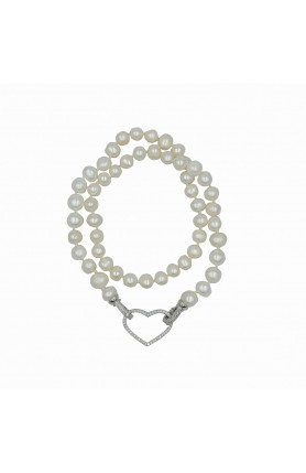 18K RHODIUM PLATED  FRESHWATER PEARL NECKLACE 18""