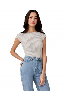 JORJA BOAT NECK KNIT TOP - SAND