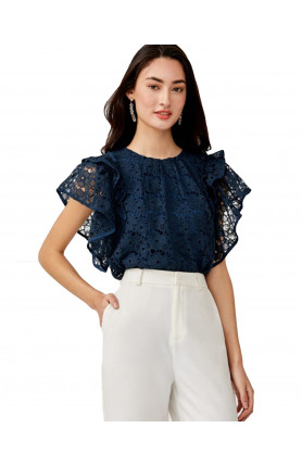 AMARIS LACE RUFFLE SLEEVE TOP - NAVY BLUE