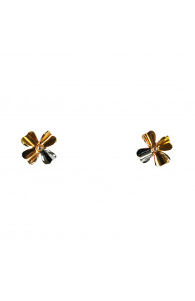 18KW THREE-COLORED-GOLD FOUR PETALS EARRINGS