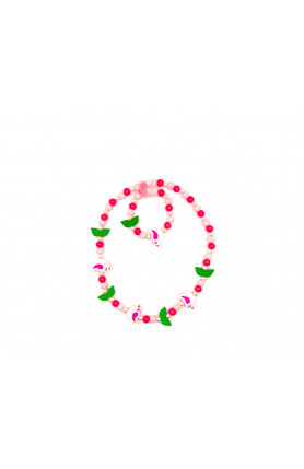 PINK WITH GREEN MAJOR NECKLACE