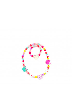COLORS WITH BLUE AND PINK NECKLACE