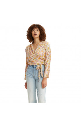 LEVI'S® WOMEN'S WENDY WRAP TOP - YELLOW