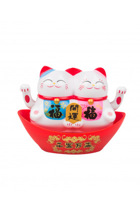 PLASTIC SOLAR POWERED FENG SHUI TWINS LUCKY CATS