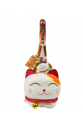 CERAMIC FENG SHUI LUCKY CAT WITH TALL TAIL