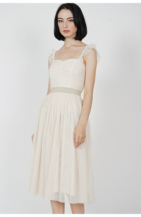 LYRA GATHERED TULLE DRESS IN CREAM