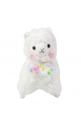 WHITE ALPACA SOFT TOY WITH POMPOMBOW 7IN