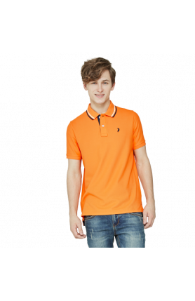 MEN'S REGULAR FIT COOLTECH POLO TEE - ORANGE