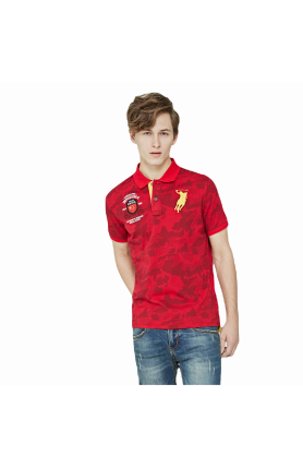 REGULAR FIT CHINA TEAM POLO TEE - RED