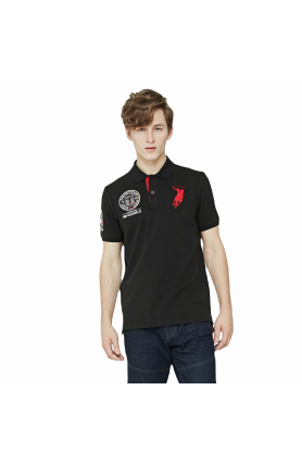 REGULAR FIT DEUTSCHLAND TEAM POLO TEE - BLACK